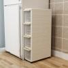 Шуай шкаф кухня холодильник полки пойманы Зазор шкафчики шкив стеллаж для хранения снэк четыре белых SL1696W орз кухня холодильник боковины хранения стеллаж холодильник мульти слой боковой ярус держатель трещины хранения