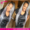 Swiss Lace Human Grey Hair Wigs silk straight Sliver Grey Hair Lace front Wig Gray Human Real Hair Wigs 150% Density ombre wig