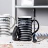Фарфор Soul керамическая кружка с крышкой ремня ложка чашка кофе большой емкости минималистский творческой личности пару чашек кружки белой нитью линии жизни современный минималистский личности быков