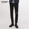 (Viishow) джинсы мужские дырочные кошки, чтобы быть прямыми брюками Тонкие промытые джинсовые брюки NCZ7963 черный 31
