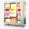 Красивый дом простой гардероб ткани шкаф многофункциональный гардероб стальная труба 136S с обувной стойкой белые синие цветы женский гардероб