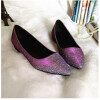 Jiabaisi Women Flats Pointed Toe nails patent Flats Slip On low heel shoes Large Size Wedding Party Casual Basic Shoes asumer black pink fashion spring autumn women pumps pointed toe buckle square heel genuine leather shoes low heels shoes