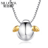 Ni Luoya S925 серебряное ожерелье женские яйца ангел Роуз Голден цепи слуховых косточек простой сладкий кулон подарок на день рождения для своей подруги