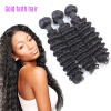 Natural Color 3pcs Deep Wave With Closure, Curly Brazilian Human Human Hair Weave Bundles ,7A Virgin Weft Extension Black Women adriatica a3146 1213q