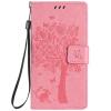Pink Tree Design PU кожа флип крышку кошелек карты держатель чехол для HUAWEI P8MINI