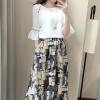VIVAHEART случайный платье из легкого белья из двух частей длинная юбка юбка юбка VWQZ173231 темно-зеленый цветок L