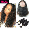 360 Lace frontal With hair bundles Body wave Brazilian Virgin human Hair bundles with frontals 22x4x2 lace frontal with 3 hair 8a brazilian lace frontal closure body wave 13x4 with baby hair bleached knots free middle 3 parts frontals dreaming queen hair