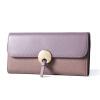 Г-жа Doodoo первый слой кожаный бумажник длинной части японской и корейской моды простой личности кожаный бумажник тонкий кошелек женский студент D6636 фиолетовый таро бумажник d
