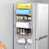 Европа Юн Чул универсальный усиленный нержавеющей стали холодильника полки стойки свободный гвоздь стойку шкафа боковой стенки боковой рамы кухни приправа бутылки кухонные стеллажи для хранения принадлежностей