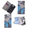 Blue Butterfly Design Кожа PU откидной крышки Кошелек для карты памяти Чехол для LG BELLO II розовый dreamcatcher дизайн кожа pu откидной крышки кошелек для карты памяти чехол для lg bello ii