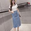 Лонгвью женские джинсовые юбки разделить Burr дикое высокие карманы бедра в светло-синем платье LWQZ173309 L женские юбки в розницу