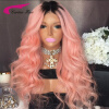 8A Grade Brazilian Virgin Hair Swiss Lace Wigs with Baby Hair Ombre Pink Hair Color Lace Front Human Hair Wigs Long Glueless Wigs sweet off the shoulder floral print long sleeve blouse for women