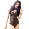 Yi Zi (EZI) законсервирован размер женский купальник груди собирать крышки живот тонкой большого размера купальник съемной юбку юбку Ezi1063 коричневого L