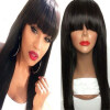 Brazilian virgin full lace human hair wigs for black women glueless full lace front human hair wigs with baby hair full bangs 8a malaysian full lace straight human hair wigs for black women virgin human hair straight full lace