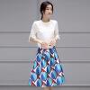 Летняя утренняя корейская версия двух комплектов одежды юбки моды воротник воротник свободной короткой куртке большой талии талии была тонкая юбка юбка юбка юбка юбка S71R0603A678M на белом под синим M