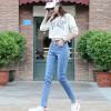 VIVAHEART Корейский случайные джинсы женщина талии упругие талии стрейч брюки ноги Тонкий VWKN171137 светло-голубой 27 2015 мм жира xl дамы корейский себя тонкий упругие талии прямой ногой джинсы
