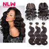 Brazilian Virgin Hair With Closure 8A Grade 4 Bundles With Closure Human Hair Weave Brazilian Body Wave With Lace Closure