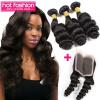 3 связки Горячие продукты способа волос с закрытием Малайзийские волосы Virgin Hair Loose Wave Clace с общим количеством 4 шт / много Бесплатная доставка