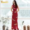 Джи Вэй Я. 2017 новый тонкий европейских и американских женщин летом высокой талии ретро печати платье юбка с разрезом красный рукавов длинный отрезок