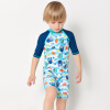 Yi Zi (EZI) студент Детского купальника мальчик ребенок солнцезащитного прибой одежда Ezi16083 синяя рыба распечатана 130 см морепродукты рыба