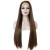 Anogol темно-коричневый кружевной передний парик естественных длинных прямых синтетических высокотемпературных жаропрочных волокон парик роза цвет темно коричневый