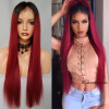 New 150 Density Lace Front Wig Brazilian Virgin Glueless 1b/red Ombre Full Lace Human Hair Wigs With Baby Hair Free Shipping