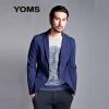 Отличный Морзе (YOMS) Британские моды досуга костюм мужчины культивирование небольшой кнопка пиджак 52233009 прочесали хлопчатобумажную пряжу окрашенные темно-синий M