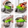 MyMei Kitchen Green Silicone Clip On Snap Water Strainer Colander Bowl Pan Pot Tool