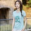 (INMAN) 2017 лето новое свежее искусство Fan печатать короткий рукав футболка женский Slim рубашка светло-голубой M 1872022194
