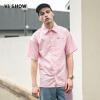 Wei Xiu viishow с коротким рукавом рубашка мужской чистый розовый мужской повседневная рубашка письмо вышивка жакет CD16471721 розовый XXL