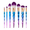 MyMei 7PC/Set Purple Cosmetic Makeup Brush Cosmetic Eyebrow Foundation Powder Brush 2017 10pcs mermaid fish scale brush fishtail bottom brush powder blush makeup cosmetic brush pincel maquiagem sereia