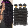 Unprocessed 7A Peruvian Deep Wave Virgin Hair 3 Bundles Top Quality Peruvian Deep Curly Hair Natural Black Colour 8~28 6 pcs lot 3 girls sweet glitter hair bow for kids boutique hairgrips high quality bling hair accessories