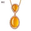 Если Dai мило лиса ожерелье женские модели 925 серебро желтый халцедон корейский короткий параграф ключицы цепь, чтобы отправить его подруга подруги одежду и аксессуары День Святого Валентина подарок dai shi han