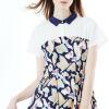 Wandian dress (WANDIAN) Цветочный костюм POLO воротник с коротким рукавом в длинном платье 1162N38089 L