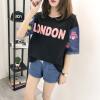 VIVAHEART моды вышивка шить джинсовые с короткими рукавами футболки женский свободный короткий рукав футболки прилива VWTD174234 черный L