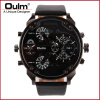HP3548 alloy case gun black plating dual time zone men watch with leatheroid belt oulm brand hotsale цена и фото