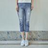 цена  Инь Человек (ИНМАН) 2017 лето новые стиральные потертые джинсы отверстие брючные женские белые дикие синие джинсы XS 1872333178  онлайн в 2017 году
