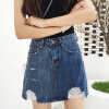 VIVAHEART высокая талия ковбой короткая юбка женская дыра ударил цвет половина юбка слово дикая юбка VWQZ174247 синий L