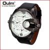 Brand Oulm HP3790 Man Watch Quartz Sports Men Leather Strap Watches Male Wristwatch jubaoli rotatable bezel male watch quartz leather strap wristwatch