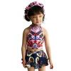 Молочно (Qihai) Детский купальник девочки разделить семьи из четырех детей купальника боксера горячего источника купального костюма пальто темно синяя юбка 7632-2 XL кода