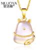 Ni Luoya Lucky Cat S925 серебрение подарок золотой кулон ожерелье женский день рождения, чтобы отправить свою подругу женский кулон soul diamonds золотой кулон с бриллиантами buhk 8280 14ky