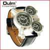 OULM 1167 Mens Vintage Steam Punk Leather Band Watches 3 Time Zone Japan MOVT Casual Quartz Watch oulm big unique designer watches men sports quality japan movt quartz gifts wristwatch vintage watch relogios masculinos 2017
