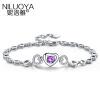 Ni Luoya сердце S925 серебряный браслет женский корейской моды простой браслет ювелирных сладкий день рождения подарок для своей подруги