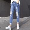 Антарктические (Nanjiren) джинсы женская корейская версия мода дыра брюки брюки модели досуг дикие ножки брюки осень 30 метров антарктические нанджирен джинсы женщины корейские тонкие брюки брюки брюки брюки брюки брюки женская осень синяя 30 ярдов