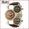 OULM 1167 Mens Vintage Steam Punk Leather Band Watches 3 Time Zone Japan MOVT Casual Quartz Watch цена и фото