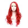 Anogol Handmade Long Wavy Red Heat Resistant Fiber Естественный Полностью парики волос Синтетический парик фронта шнурка