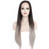 Anogol прямой парик фронта шнурка Длинные темно-коричневый Ombre серебристо-серый Синтетический жаропрочных Натуральный парики парик роза цвет темно коричневый
