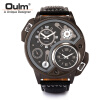 Oulm 3578 Double Movt Male Quartz Watch Leather Band Wristwatch Military Sport Round Dial Famous Brand Luxury Men's Watch oulm 3548 authentic mens 5 5cm large dial watches leather band dual time japan movt quartz watch relogio masculino grande marca