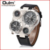 OULM 9415 Multiple Time Zone Japan Quartz Movement Men Sport Thermometer Compass Decoration Leather Strap Oulm Military Watch men quartz watches new fashion sport oulm japan double movement square dial compass function military cool stylish watch relojio