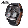 New special compass decorations men sports japan quartz movement leather strap branded watch oulm 1140 military wrist watch oulm men s quartz military wrist watch with dual movt compass